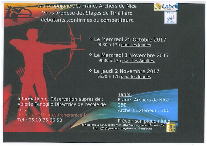 Stages de tir à l'arc novembre 2017